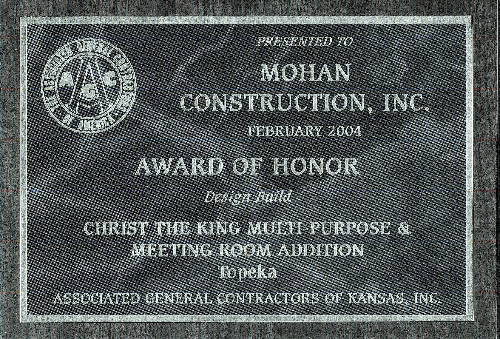 Mohan award Christ King